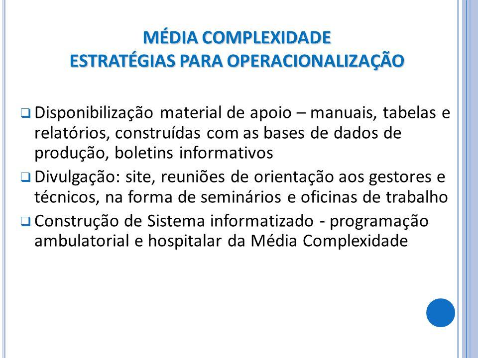 MÉDIA COMPLEXIDADE ESTRATÉGIAS PARA OPERACIONALIZAÇÃO Disponibilização material de apoio – manuais, tabelas e relatórios, construídas com as bases de