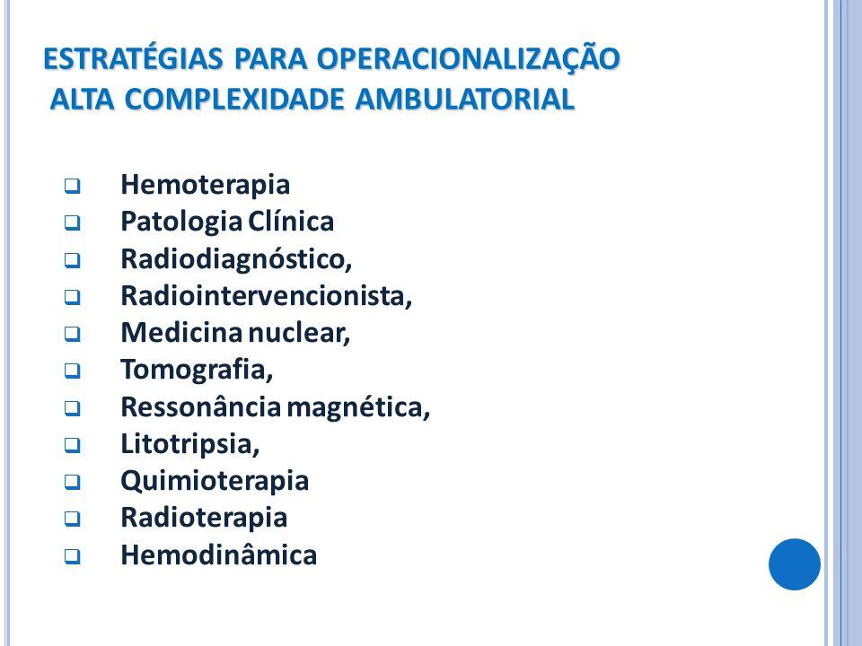 ESTRATÉGIAS PARA OPERACIONALIZAÇÃO ALTA COMPLEXIDADE AMBULATORIAL Hemoterapia Patologia Clínica Radiodiagnóstico, Radiointervencionista, Medicina nucl