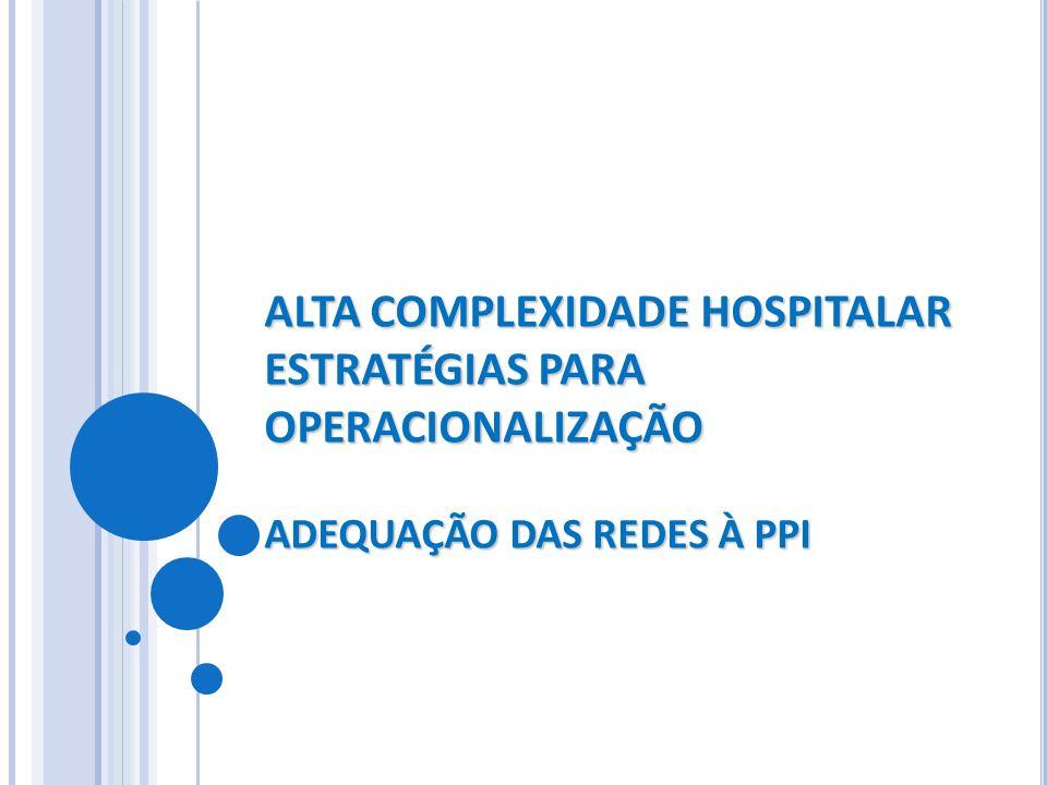 ALTA COMPLEXIDADE HOSPITALAR ESTRATÉGIAS PARA OPERACIONALIZAÇÃO ADEQUAÇÃO DAS REDES À PPI