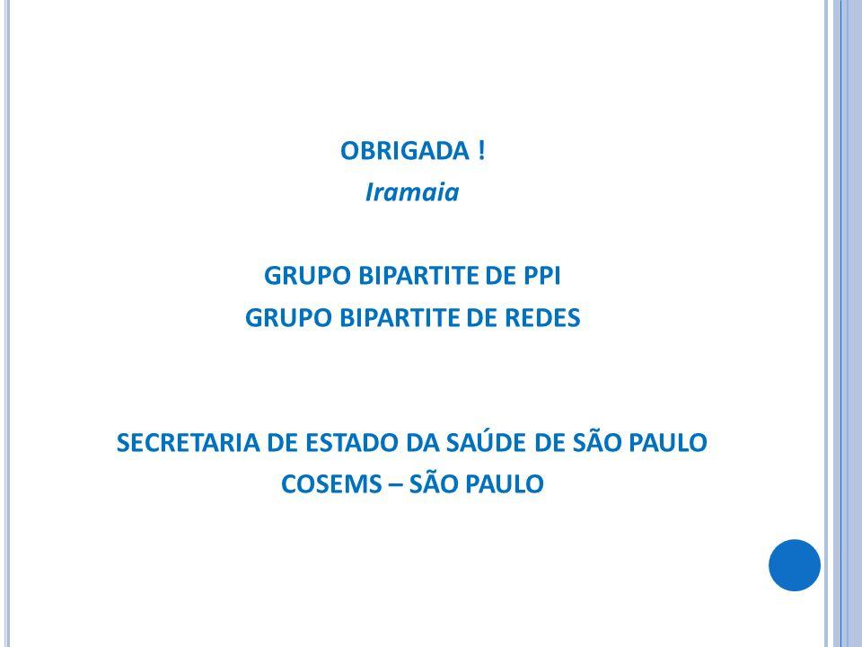 OBRIGADA ! Iramaia GRUPO BIPARTITE DE PPI GRUPO BIPARTITE DE REDES SECRETARIA DE ESTADO DA SAÚDE DE SÃO PAULO COSEMS – SÃO PAULO