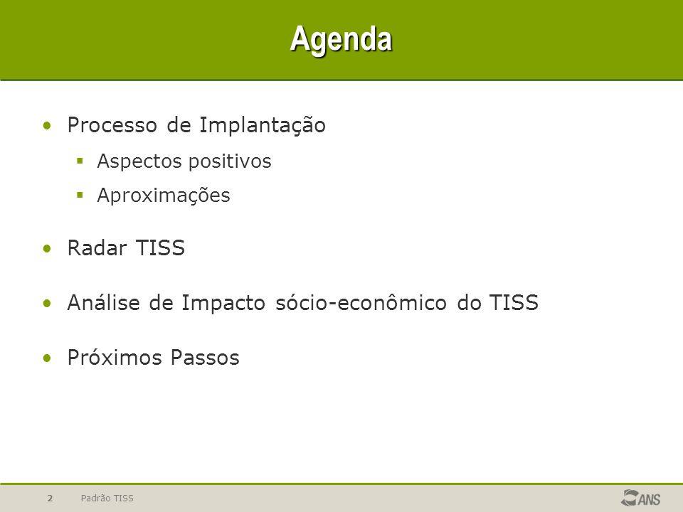 Padrão TISS2 Agenda Processo de Implantação Aspectos positivos Aproximações Radar TISS Análise de Impacto sócio-econômico do TISS Próximos Passos