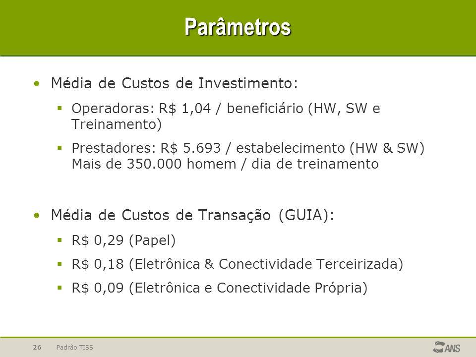 Padrão TISS26 Parâmetros Média de Custos de Investimento: Operadoras: R$ 1,04 / beneficiário (HW, SW e Treinamento) Prestadores: R$ 5.693 / estabelecimento (HW & SW) Mais de 350.000 homem / dia de treinamento Média de Custos de Transação (GUIA): R$ 0,29 (Papel) R$ 0,18 (Eletrônica & Conectividade Terceirizada) R$ 0,09 (Eletrônica e Conectividade Própria)