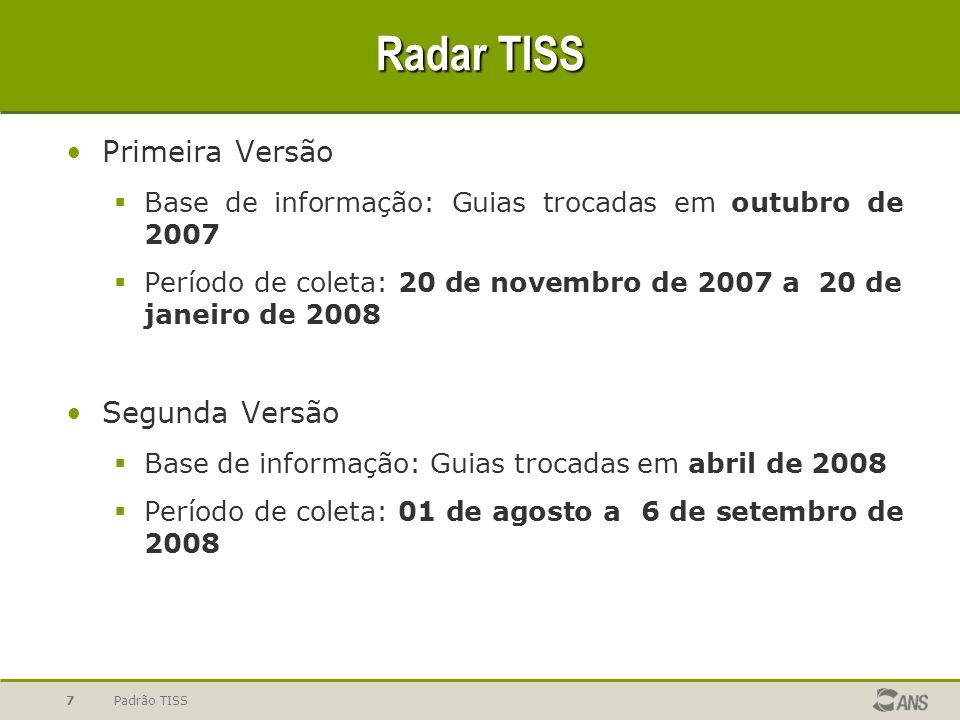 Padrão TISS7 Radar TISS Primeira Versão Base de informação: Guias trocadas em outubro de 2007 Período de coleta: 20 de novembro de 2007 a 20 de janeiro de 2008 Segunda Versão Base de informação: Guias trocadas em abril de 2008 Período de coleta: 01 de agosto a 6 de setembro de 2008