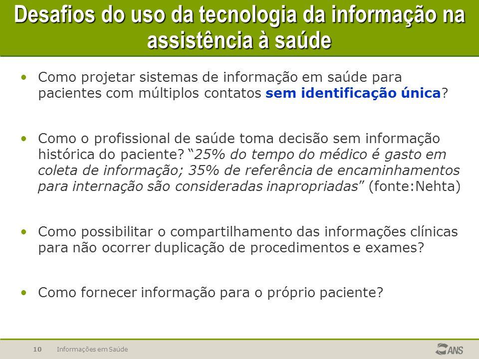 Informações em Saúde10 Desafios do uso da tecnologia da informação na assistência à saúde Como projetar sistemas de informação em saúde para pacientes com múltiplos contatos sem identificação única.