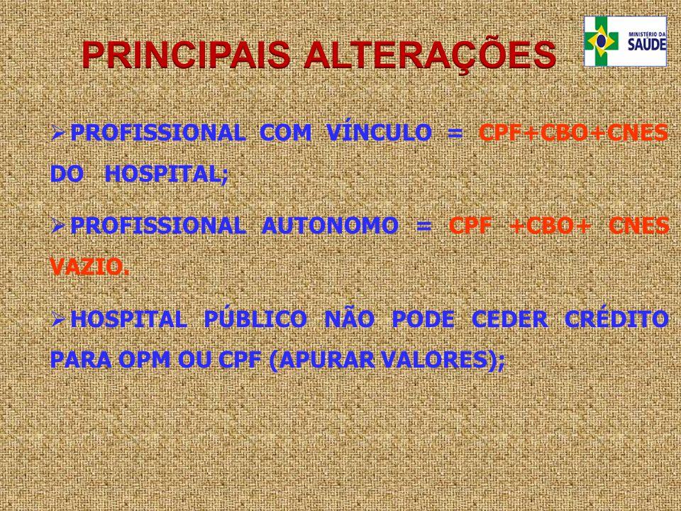 PROFISSIONAL COM VÍNCULO = CPF+CBO+CNES DO HOSPITAL; PROFISSIONAL AUTONOMO = CPF +CBO+ CNES VAZIO. HOSPITAL PÚBLICO NÃO PODE CEDER CRÉDITO PARA OPM OU