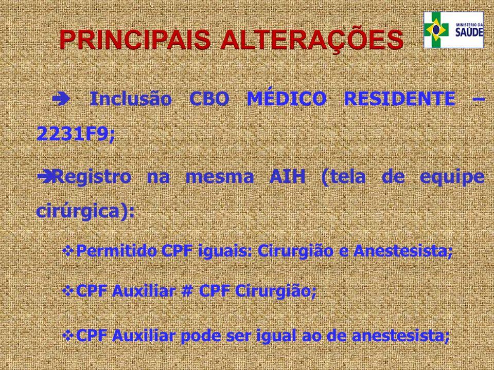 Inclusão CBO MÉDICO RESIDENTE – 2231F9; Registro na mesma AIH (tela de equipe cirúrgica): Permitido CPF iguais: Cirurgião e Anestesista; CPF Auxiliar