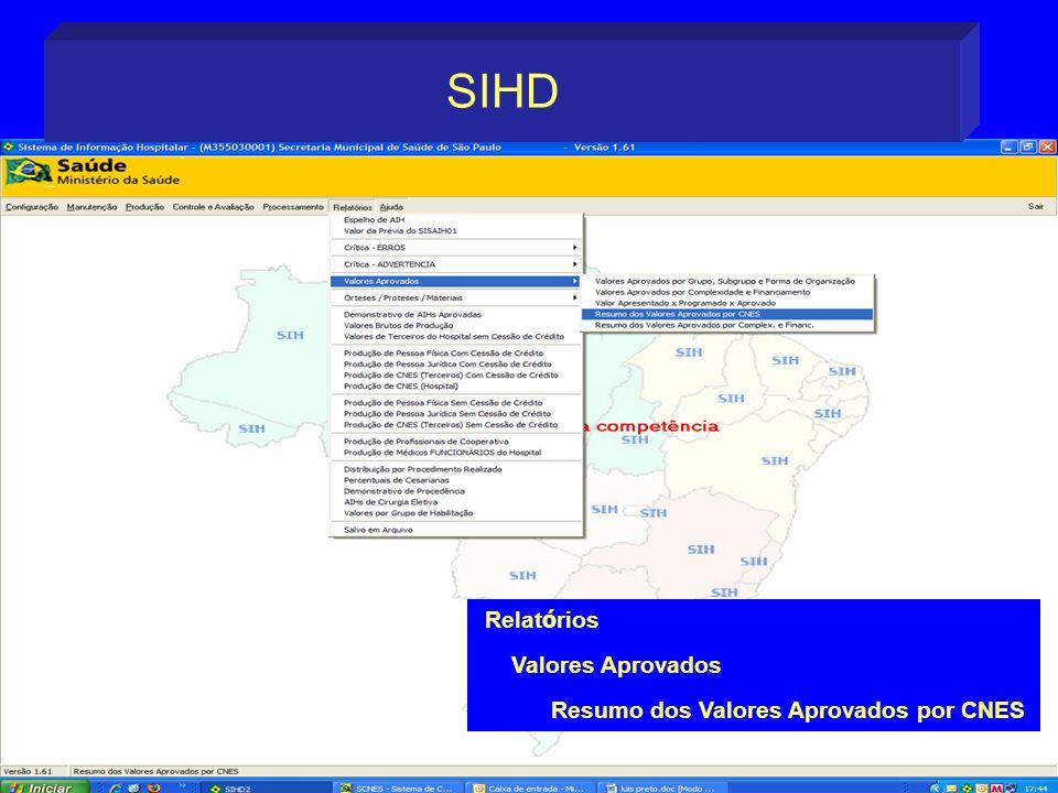 Relat ó rios Valores Aprovados Resumo dos Valores Aprovados por CNES SIHD