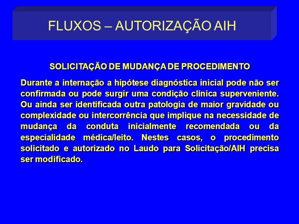 SOLICITAÇÃO DE MUDANÇA DE PROCEDIMENTO Durante a internação a hipótese diagnóstica inicial pode não ser confirmada ou pode surgir uma condição clínica