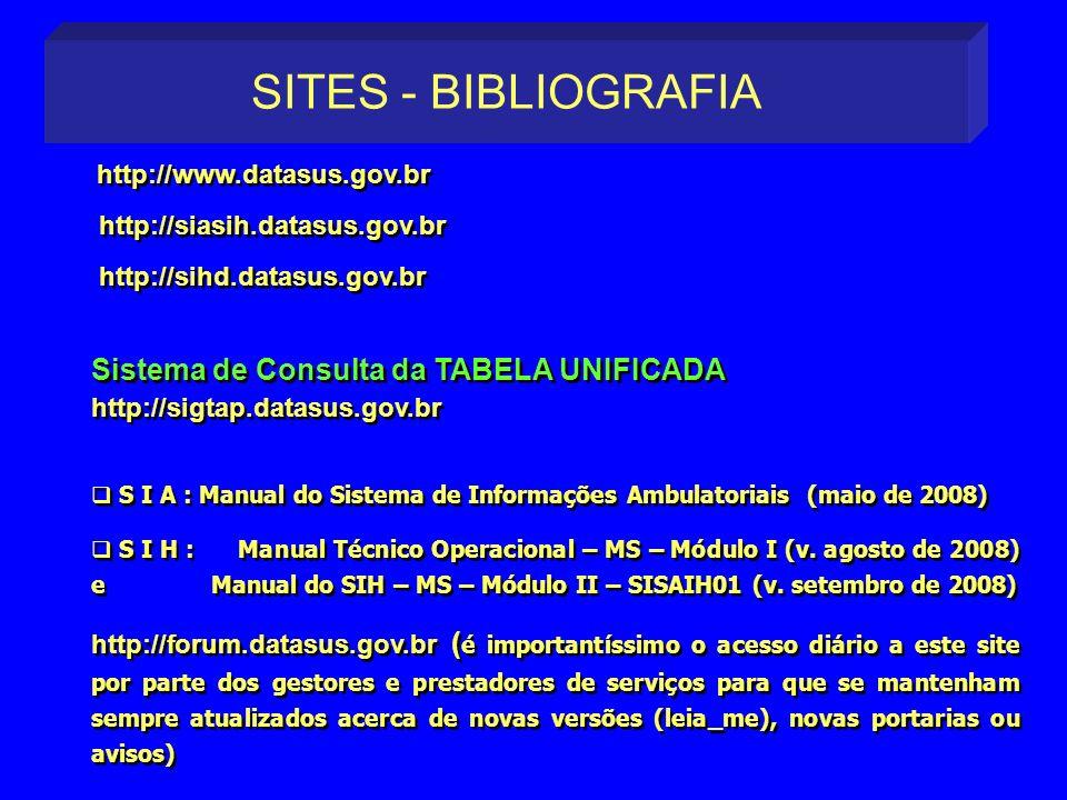 http://www.datasus.gov.br http://siasih.datasus.gov.br http://sihd.datasus.gov.br Sistema de Consulta da TABELA UNIFICADA http://sigtap.datasus.gov.br