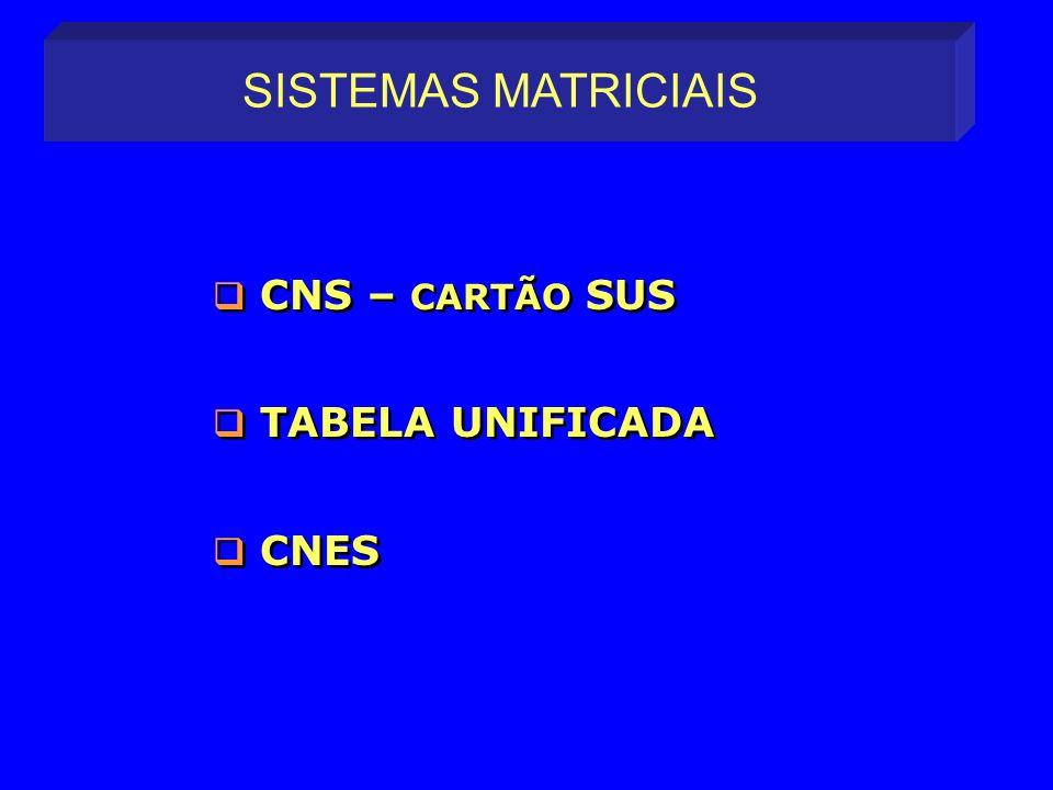 CNS – CARTÃO SUS TABELA UNIFICADA CNES CNS – CARTÃO SUS TABELA UNIFICADA CNES SISTEMAS MATRICIAIS