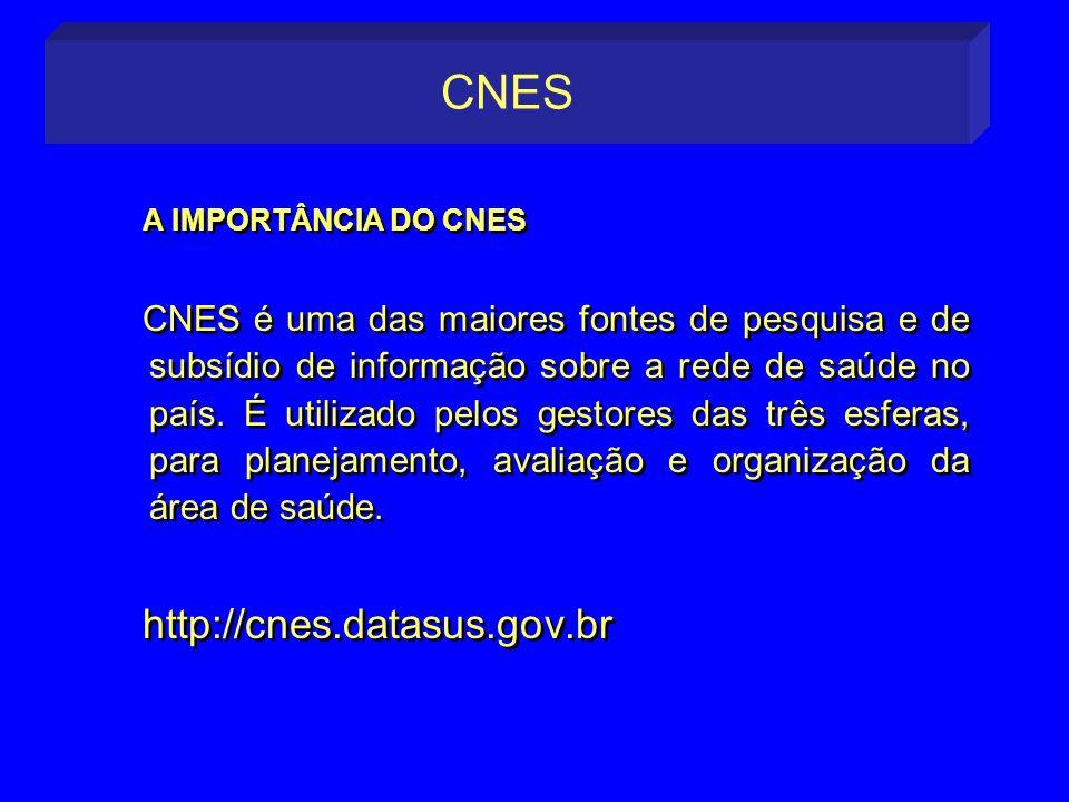 A IMPORTÂNCIA DO CNES CNES é uma das maiores fontes de pesquisa e de subsídio de informação sobre a rede de saúde no país. É utilizado pelos gestores