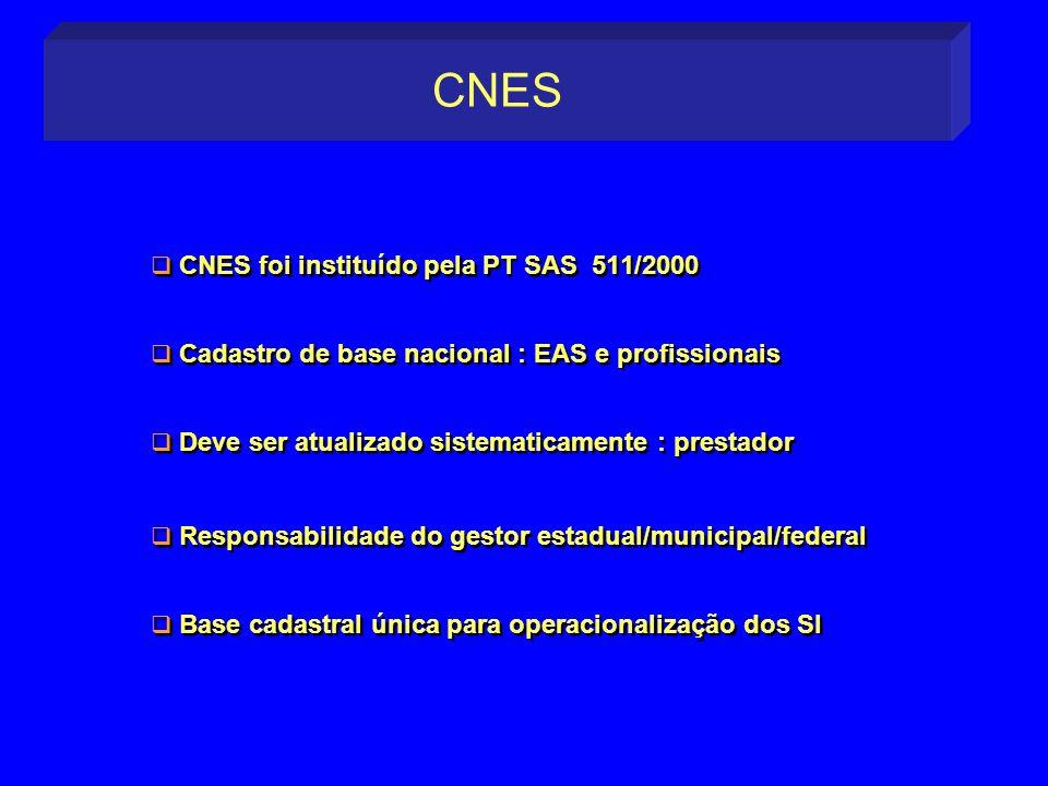 CNES foi instituído pela PT SAS 511/2000 Cadastro de base nacional : EAS e profissionais Deve ser atualizado sistematicamente : prestador Responsabili