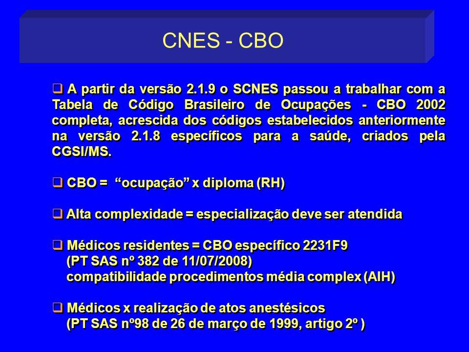 A partir da versão 2.1.9 o SCNES passou a trabalhar com a Tabela de Código Brasileiro de Ocupações - CBO 2002 completa, acrescida dos códigos estabele