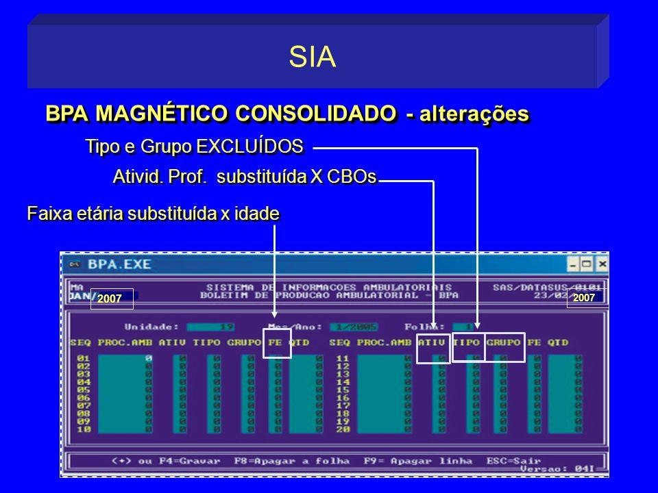 Tipo e Grupo EXCLUÍDOS 2007 BPA MAGNÉTICO CONSOLIDADO - alterações SIA Ativid. Prof. substituída X CBOs Faixa etária substituída x idade