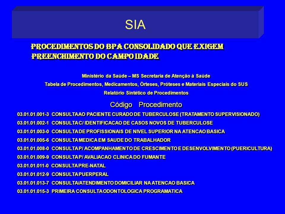 Procedimentos do BPA consolidado que exigem Procedimentos do BPA consolidado que exigem preenchimento do campo idade preenchimento do campo idade Proc
