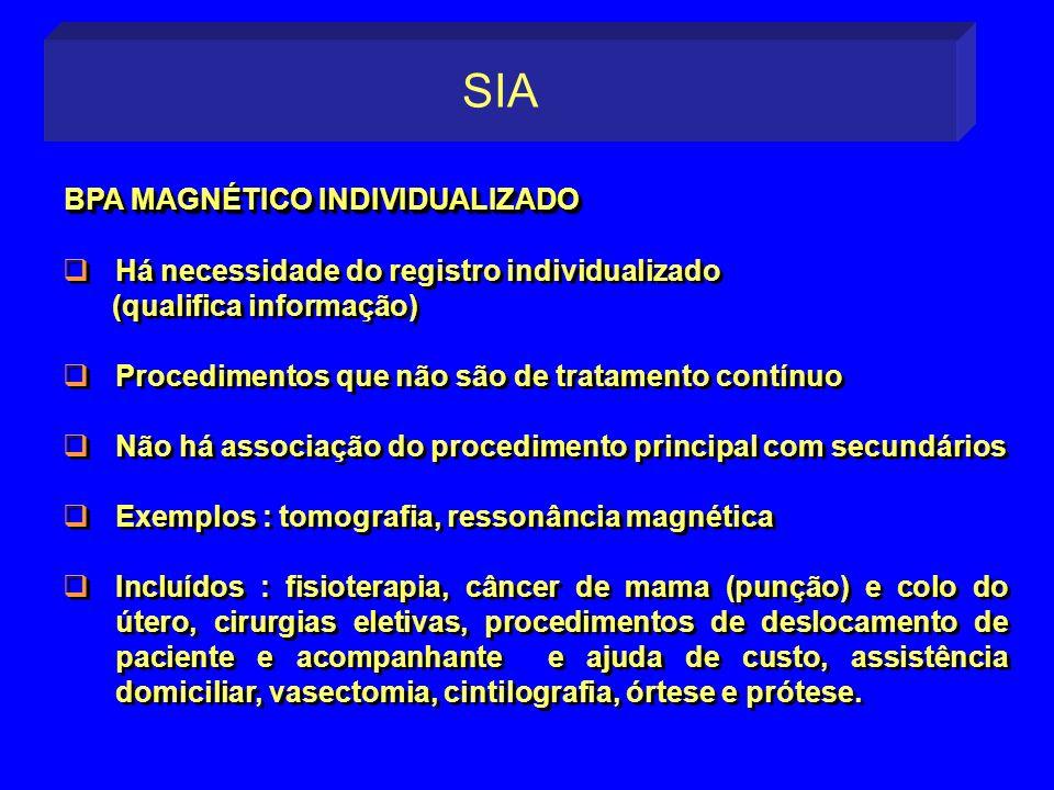 Há necessidade do registro individualizado (qualifica informação) Procedimentos que não são de tratamento contínuo Não há associação do procedimento p