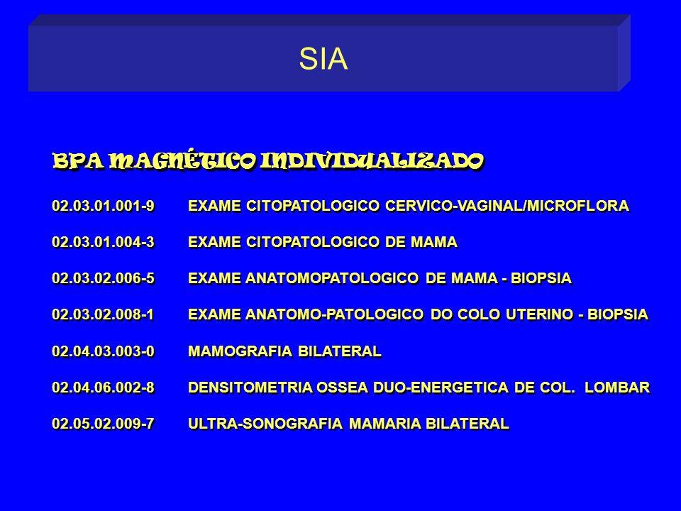 02.03.01.001-9EXAME CITOPATOLOGICO CERVICO-VAGINAL/MICROFLORA 02.03.01.004-3EXAME CITOPATOLOGICO DE MAMA 02.03.02.006-5EXAME ANATOMOPATOLOGICO DE MAMA