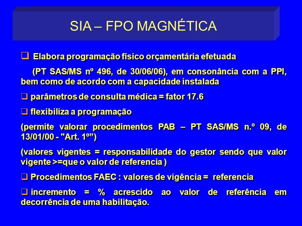 Elabora programação físico orçamentária efetuada (PT SAS/MS nº 496, de 30/06/06), em consonância com a PPI, bem como de acordo com a capacidade instal