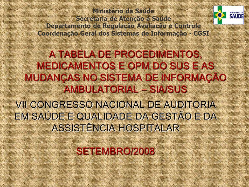 VII CONGRESSO NACIONAL DE AUDITORIA EM SAÚDE E QUALIDADE DA GESTÃO E DA ASSISTÊNCIA HOSPITALAR SETEMBRO/2008 A TABELA DE PROCEDIMENTOS, MEDICAMENTOS E