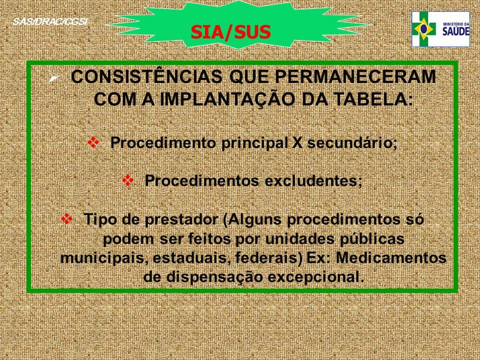 SAS/DRAC/CGSI CONSISTÊNCIAS QUE PERMANECERAM COM A IMPLANTAÇÃO DA TABELA: Procedimento principal X secundário; Procedimentos excludentes; Tipo de pres