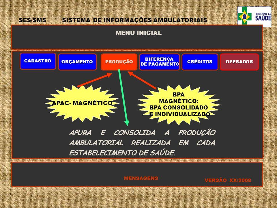 SES/SMS SISTEMA DE INFORMAÇÕES AMBULATORIAIS MENU INICIAL CADASTRO ORÇAMENTOPRODUÇÃO DIFERENÇA DE PAGAMENTO CRÉDITOSOPERADOR MENSAGENS VERSÃO XX/2008