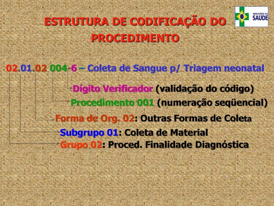 ESTRUTURA DE CODIFICAÇÃO DO PROCEDIMENTO