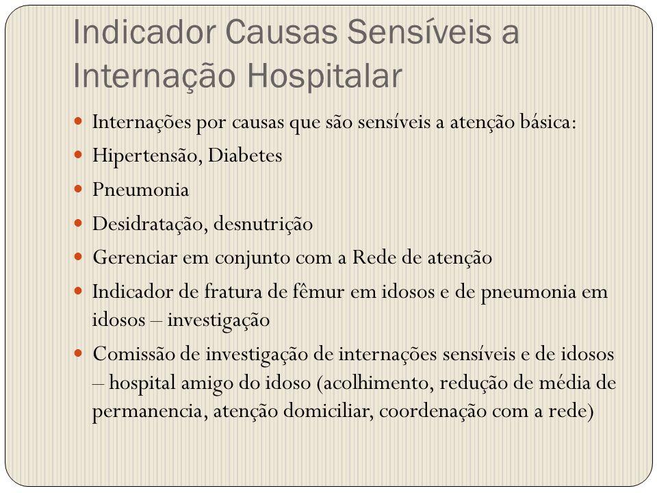Indicador Causas Sensíveis a Internação Hospitalar Internações por causas que são sensíveis a atenção básica: Hipertensão, Diabetes Pneumonia Desidrat