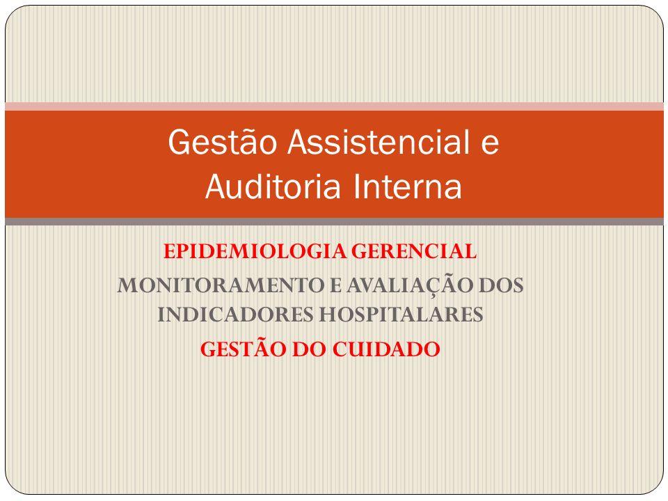 EPIDEMIOLOGIA GERENCIAL MONITORAMENTO E AVALIAÇÃO DOS INDICADORES HOSPITALARES GESTÃO DO CUIDADO Gestão Assistencial e Auditoria Interna