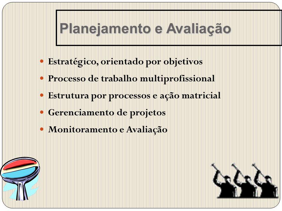 Estratégico, orientado por objetivos Processo de trabalho multiprofissional Estrutura por processos e ação matricial Gerenciamento de projetos Monitor