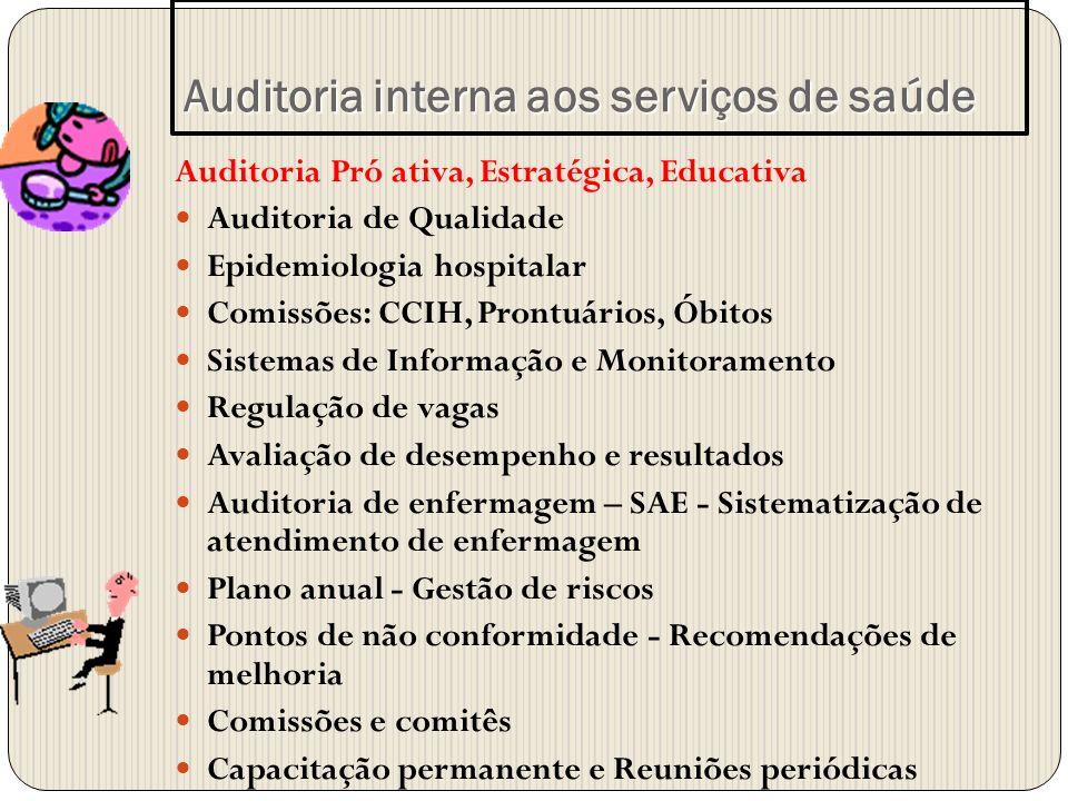 Auditoria Pró ativa, Estratégica, Educativa Auditoria de Qualidade Epidemiologia hospitalar Comissões: CCIH, Prontuários, Óbitos Sistemas de Informaçã