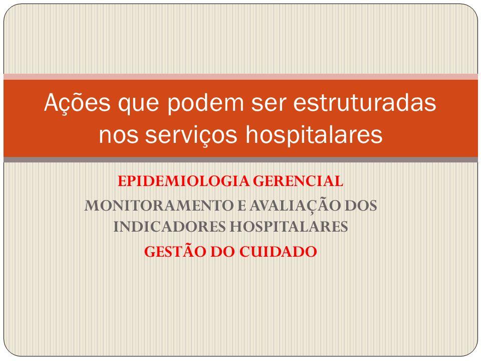 EPIDEMIOLOGIA GERENCIAL MONITORAMENTO E AVALIAÇÃO DOS INDICADORES HOSPITALARES GESTÃO DO CUIDADO Ações que podem ser estruturadas nos serviços hospita