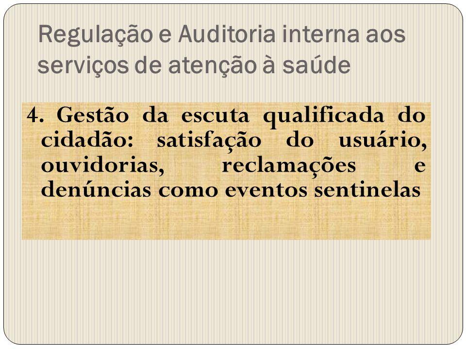 Regulação e Auditoria interna aos serviços de atenção à saúde 4. Gestão da escuta qualificada do cidadão: satisfação do usuário, ouvidorias, reclamaçõ
