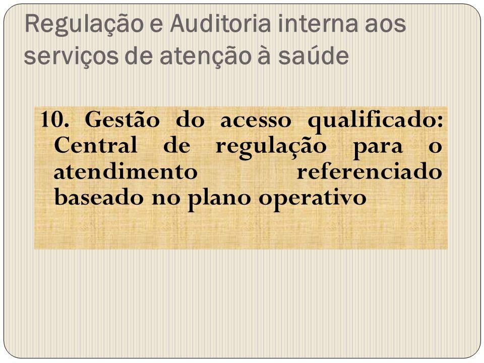 Regulação e Auditoria interna aos serviços de atenção à saúde 10. Gestão do acesso qualificado: Central de regulação para o atendimento referenciado b