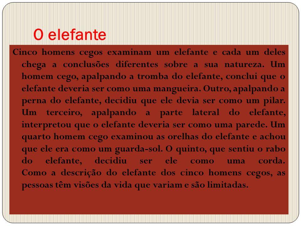 O elefante Cinco homens cegos examinam um elefante e cada um deles chega a conclusões diferentes sobre a sua natureza. Um homem cego, apalpando a trom