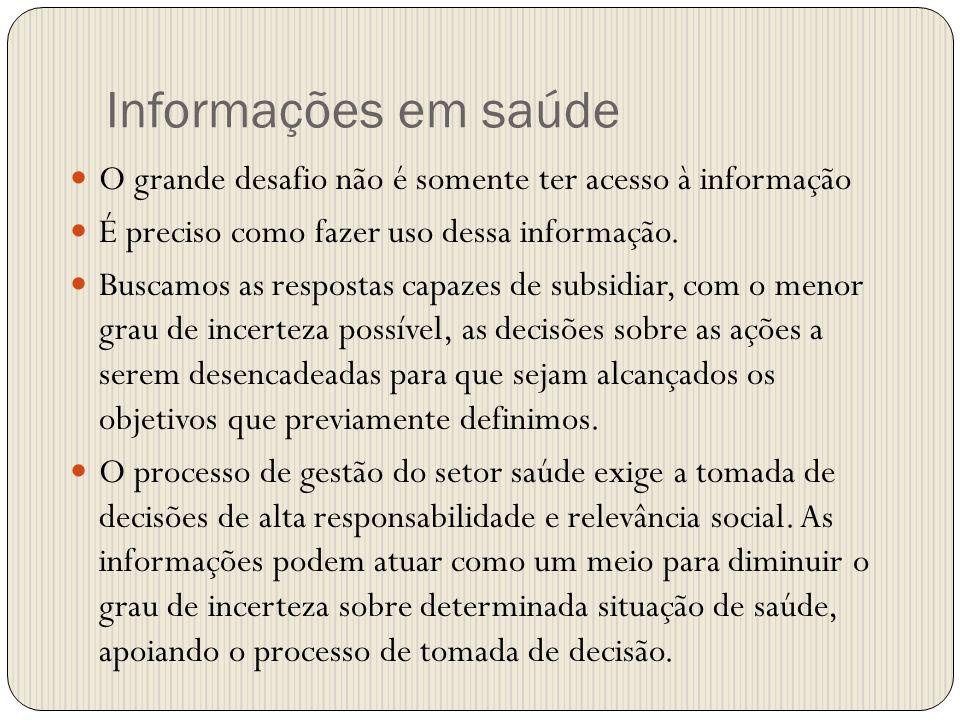 Informações em saúde O grande desafio não é somente ter acesso à informação É preciso como fazer uso dessa informação. Buscamos as respostas capazes d