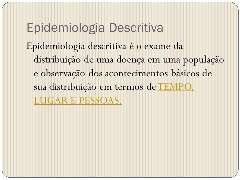 Epidemiologia Descritiva Epidemiologia descritiva é o exame da distribuição de uma doença em uma população e observação dos acontecimentos básicos de