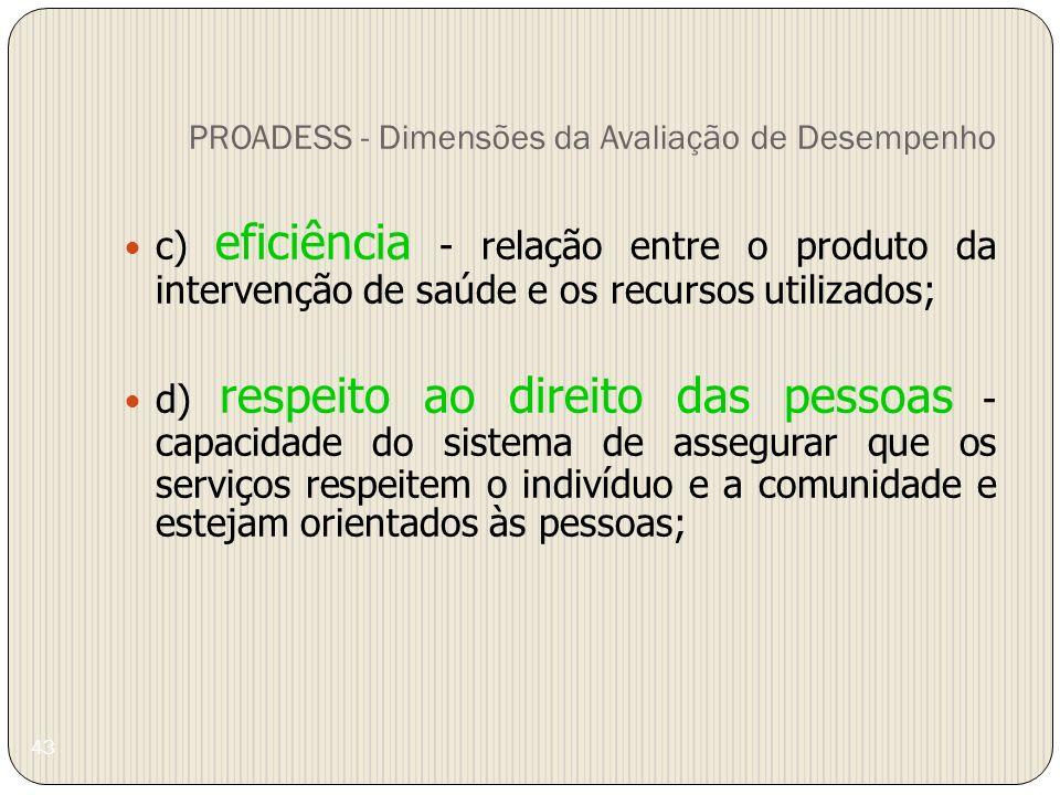 43 PROADESS - Dimensões da Avaliação de Desempenho c) eficiência - relação entre o produto da intervenção de saúde e os recursos utilizados; d) respei