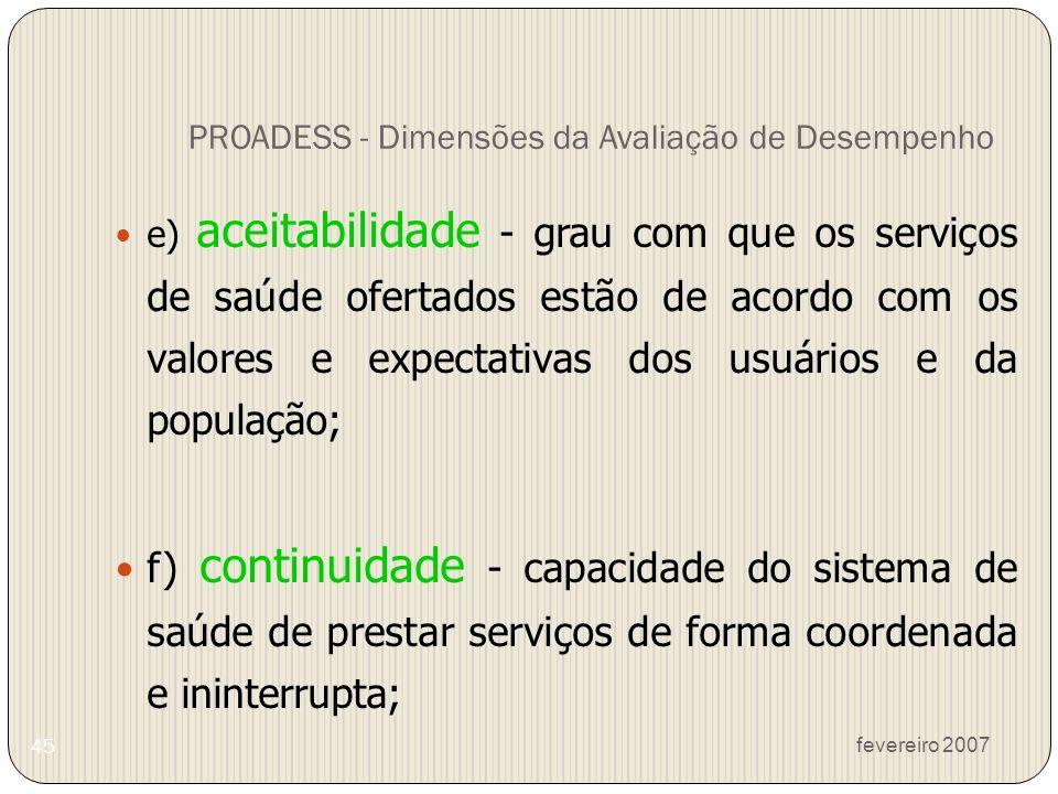 fevereiro 2007 45 PROADESS - Dimensões da Avaliação de Desempenho e) aceitabilidade - grau com que os serviços de saúde ofertados estão de acordo com