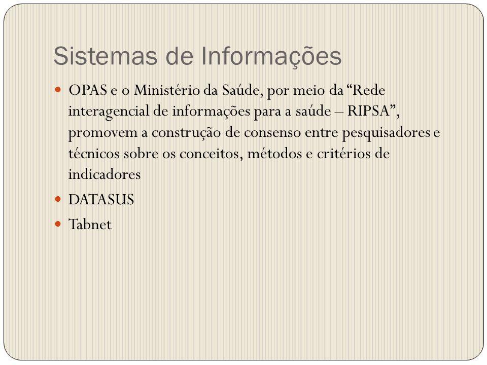 Sistemas de Informações OPAS e o Ministério da Saúde, por meio da Rede interagencial de informações para a saúde – RIPSA, promovem a construção de con