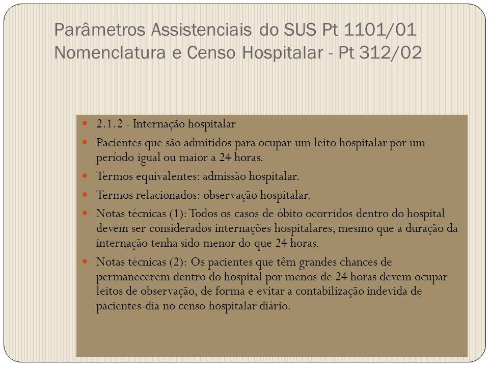 Parâmetros Assistenciais do SUS Pt 1101/01 Nomenclatura e Censo Hospitalar - Pt 312/02 2.1.2 - Internação hospitalar Pacientes que são admitidos para