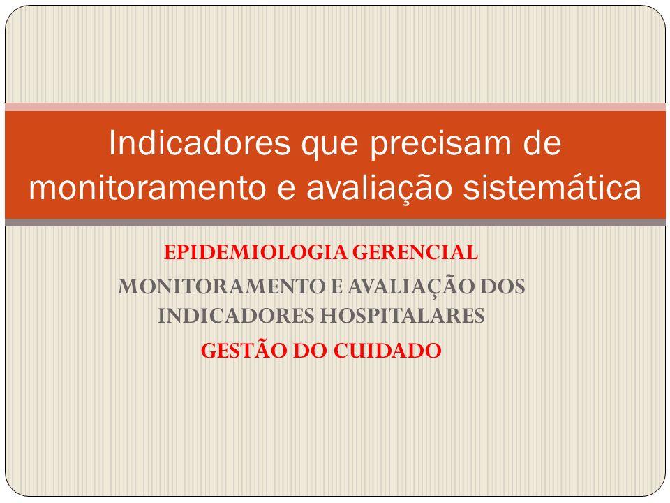 EPIDEMIOLOGIA GERENCIAL MONITORAMENTO E AVALIAÇÃO DOS INDICADORES HOSPITALARES GESTÃO DO CUIDADO Indicadores que precisam de monitoramento e avaliação