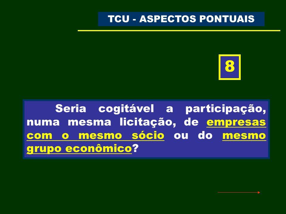 TC-020.598/2006-0 – Representação ACÓRDÃO N.º 937/2007 – TCU – 1ª CÂMARA DOU de 13/04/2007 Trecho do Acórdão: b.2) não admita, nos certames licitatórios que venha a promover, condições que comprometam, restrinjam ou frustrem o seu caráter competitivo ou violem o sigilo das propostas, como a participação de pessoas jurídicas submetidas ao mesmo controle, mediante verificação criteriosa dos dados identificadores de todos os candidatos às licitações, de modo a não infringir a Lei nº 8.666/93, especialmente o seu art.