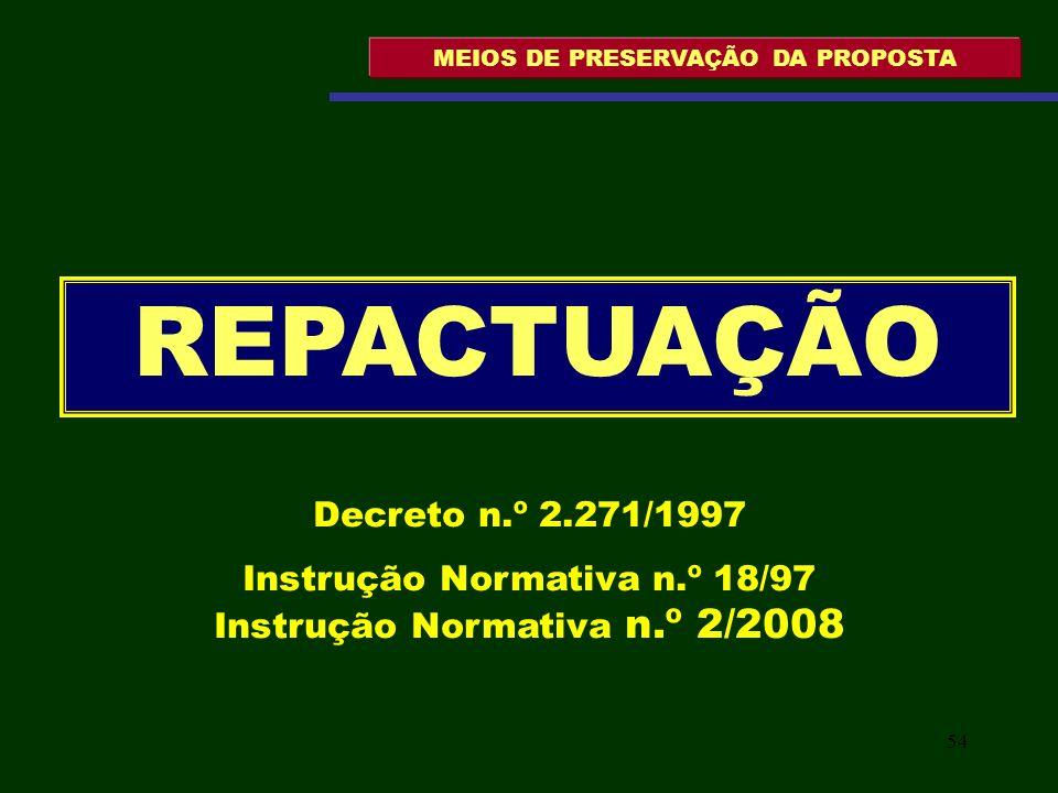 55 MEIOS DE PRESERVAÇÃO DA PROPOSTA Art.