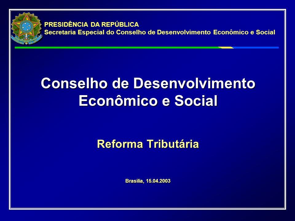 Conselho de Desenvolvimento Econômico e Social Reforma Tributária Brasília, 15.04.2003 PRESIDÊNCIA DA REPÚBLICA Secretaria Especial do Conselho de Desenvolvimento Econômico e Social