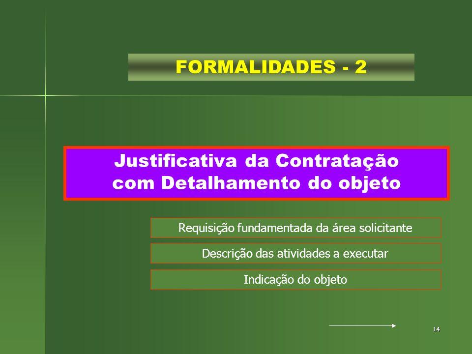 14 Justificativa da Contratação com Detalhamento do objeto FORMALIDADES - 2 Requisição fundamentada da área solicitante Descrição das atividades a exe