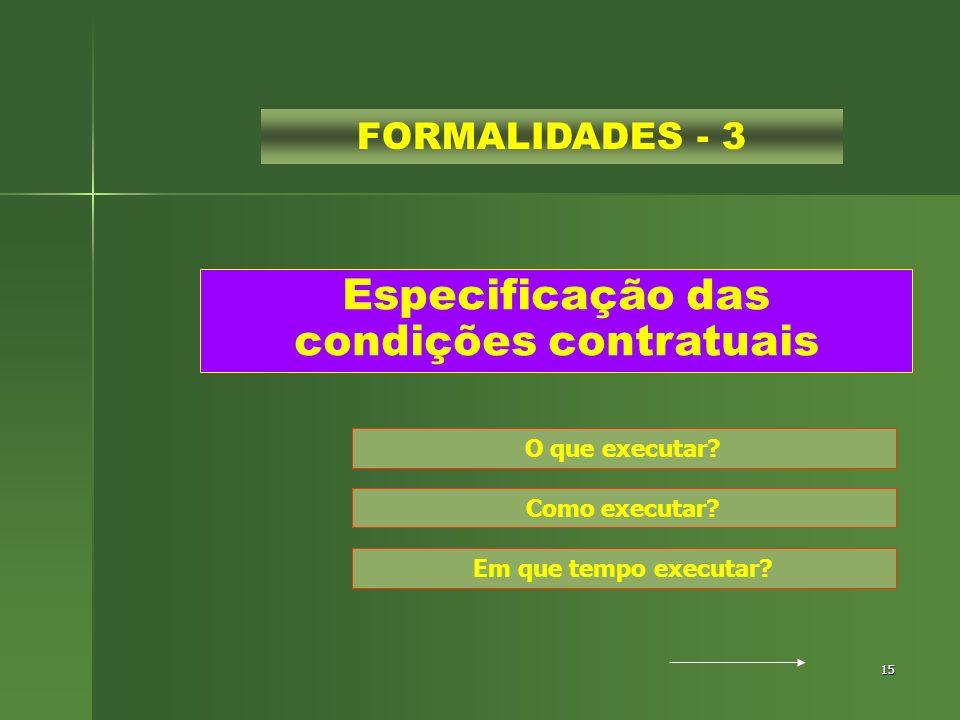 15 Especificação das condições contratuais FORMALIDADES - 3 O que executar? Como executar? Em que tempo executar?