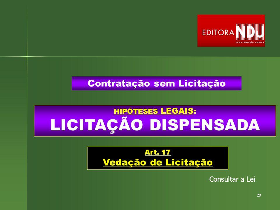23 HIPÓTESES LEGAIS: LICITAÇÃO DISPENSADA Contratação sem Licitação Art. 17 Vedação de Licitação Consultar a Lei