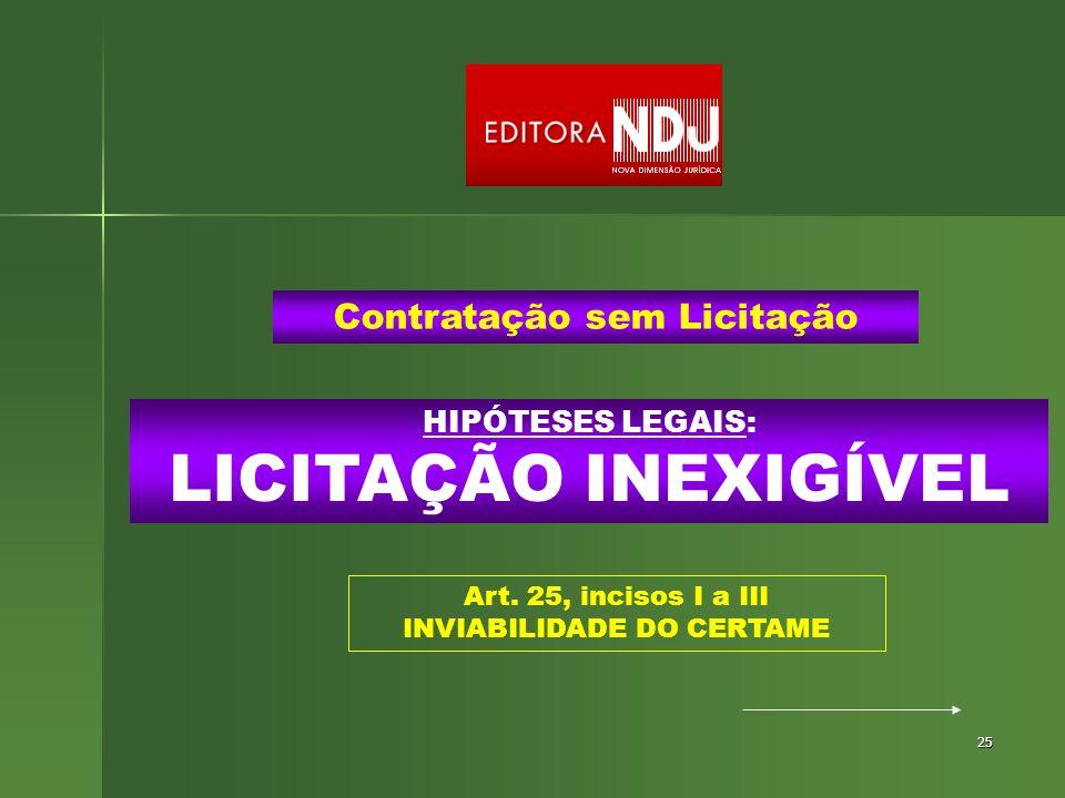 25 HIPÓTESES LEGAIS: LICITAÇÃO INEXIGÍVEL Contratação sem Licitação Art. 25, incisos I a III INVIABILIDADE DO CERTAME