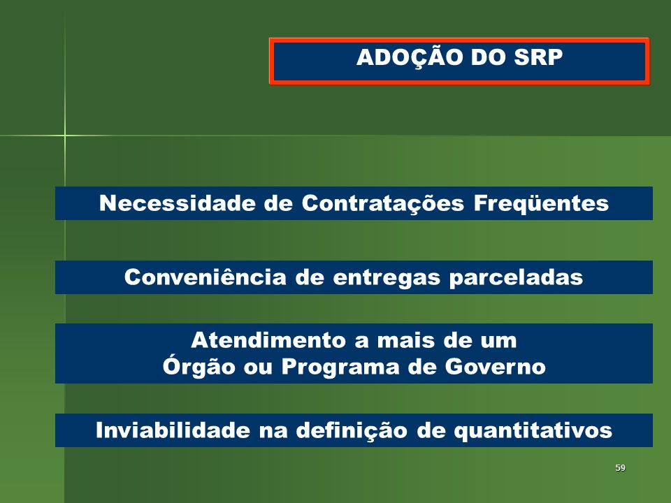 59 ADOÇÃO DO SRP Necessidade de Contratações Freqüentes Conveniência de entregas parceladas Atendimento a mais de um Órgão ou Programa de Governo Invi