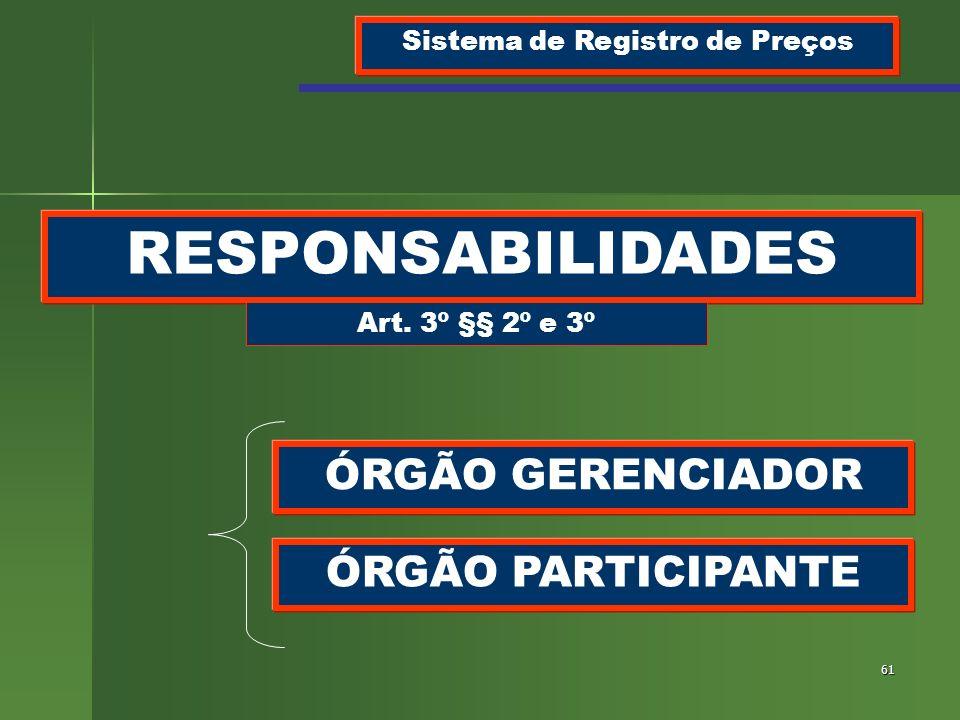 61 RESPONSABILIDADES Sistema de Registro de Preços Art. 3º §§ 2º e 3º ÓRGÃO GERENCIADOR ÓRGÃO PARTICIPANTE